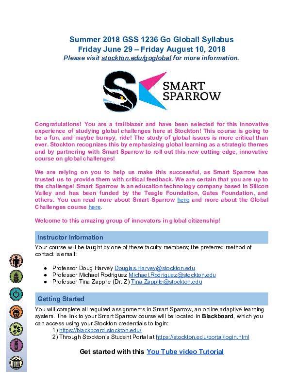 Pdf Global Challenges Syllabus With Smart Sparrow S Adaptive