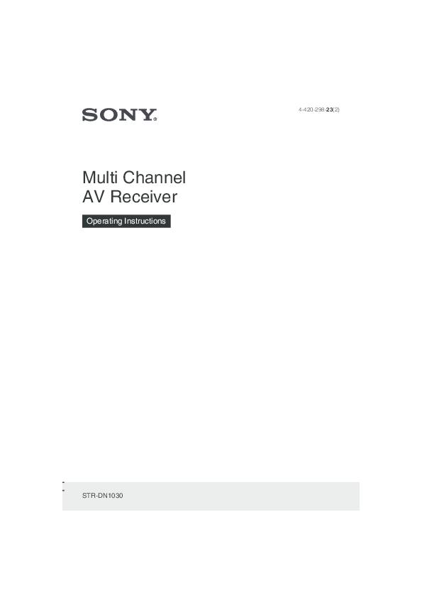 PDF) Sony STR-DN1030 manual instructions.pdf | John C Bullas ...