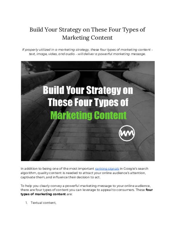 PDF) Build Your Strategy on These Four Types of Marketing