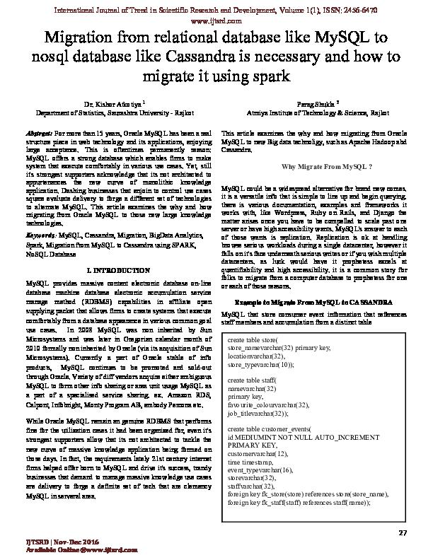 PDF) Migration from relational database like MySQL to nosql database