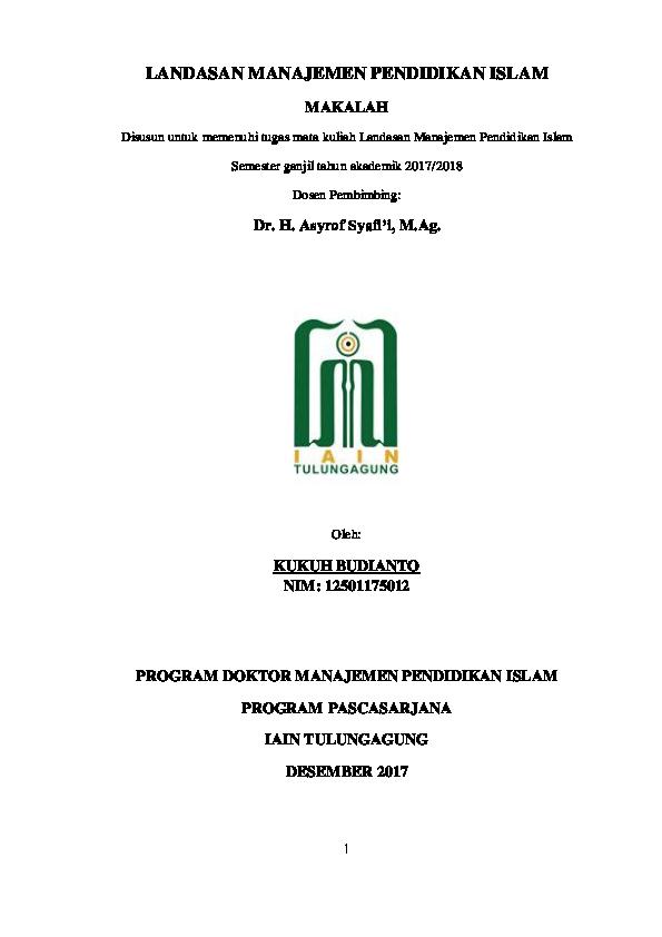 Pdf Landasan Manajemen Pendidikan Islam Kukuh Al Ibrahimy Academia Edu