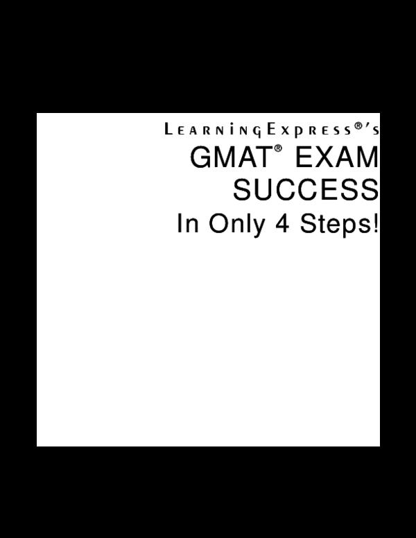 PDF) GMAT ® EXAM SUCCESS In Only 4 Steps   Niko Swandana