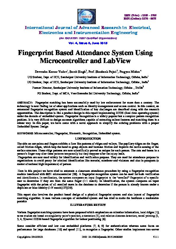PDF) Fingerprint Based Attendance System Using
