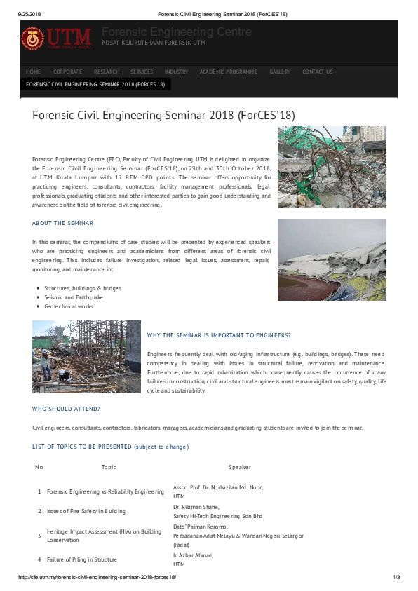 PDF) Forensic Civil Engineering Conference ForCES 2018 UTM