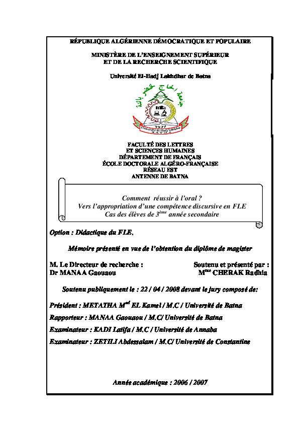 Pdf Le Cherak Radhia Ben Salem Barir Academia Edu