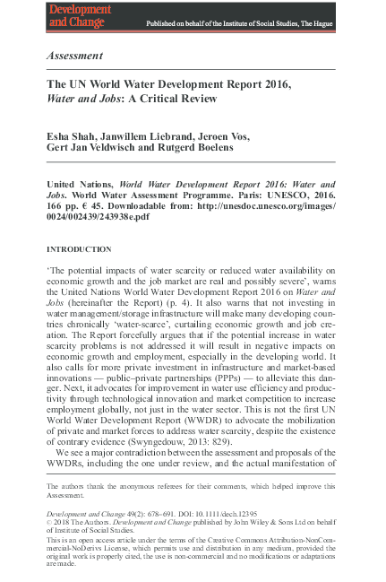 PDF) The UN World Water Development Report 2016, Water and