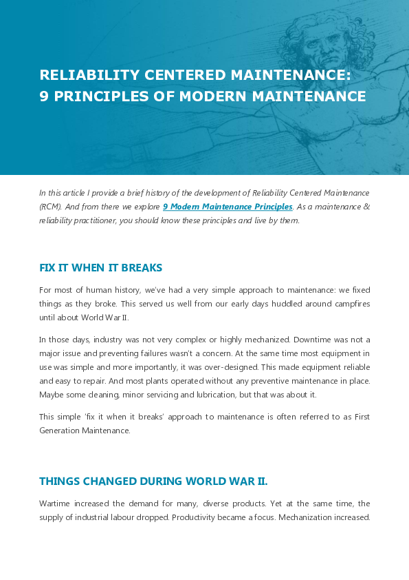 PDF) Reliability Centered Maintenance - 9 Principles of Modern