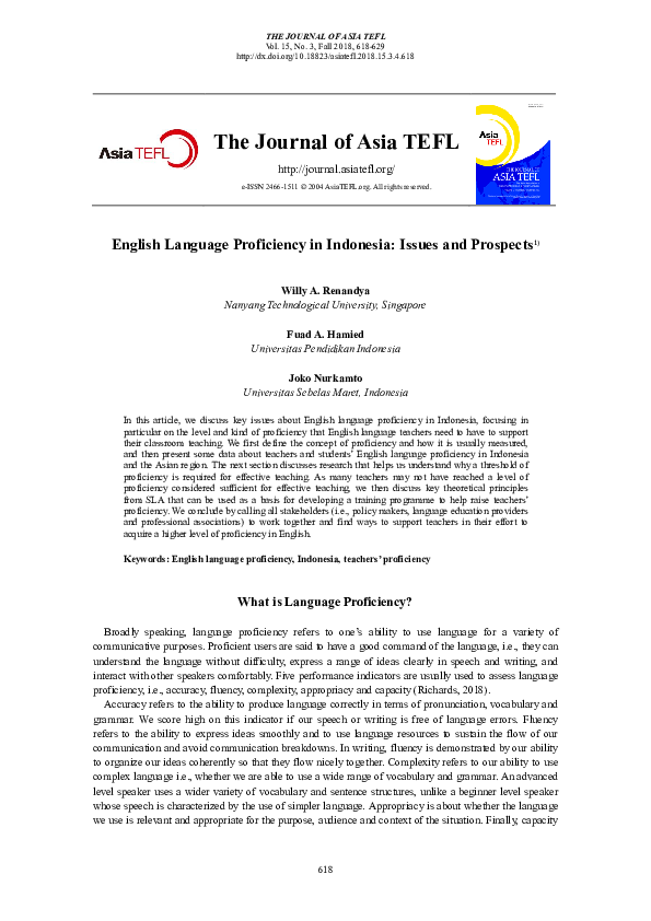 PDF) English Language Proficiency in Indonesia: Issues and Prospects