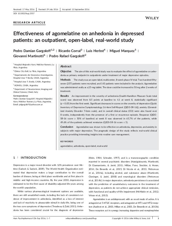 PDF) Effectiveness of agomelatine on anhedonia in depressed patients