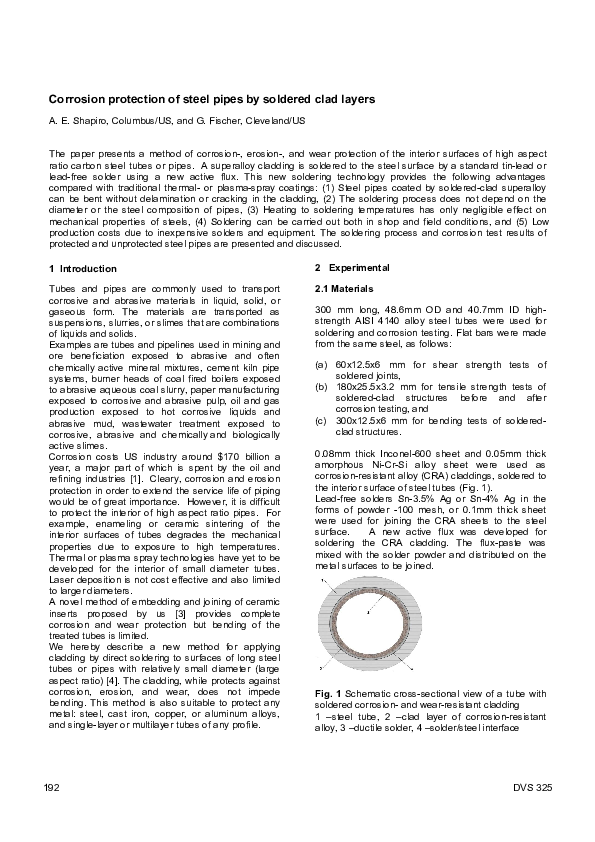 PDF) Corrosion protection of steel pipes by soldered clad