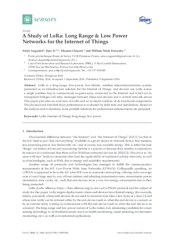 PDF) A Study of LoRa: Long Range & Low Power Networks for the