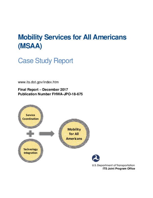 PDF) Mobility Services for All Americans (MSAA) Case Study Report