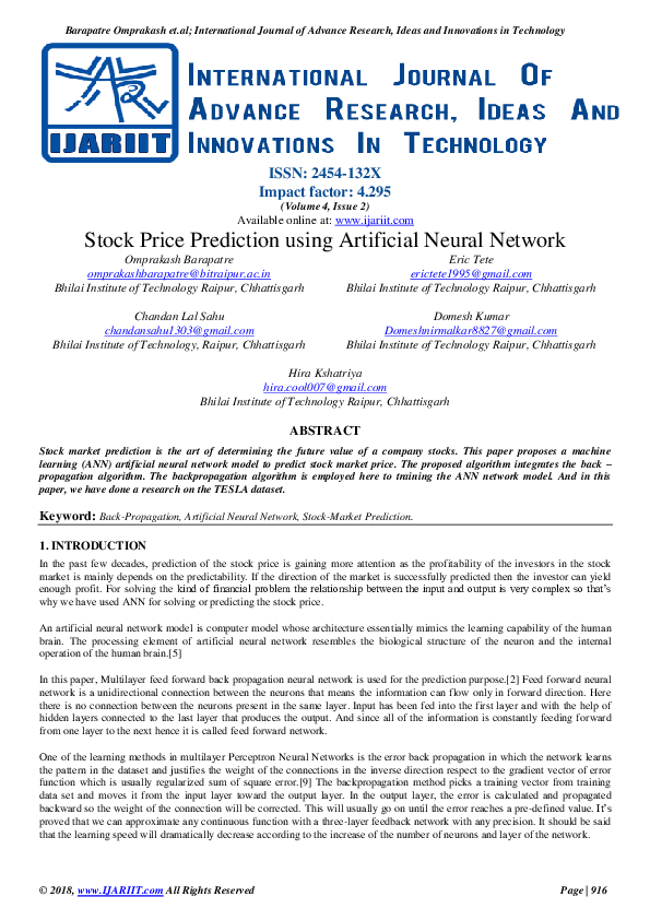 PDF) Stock Price Prediction using Artificial Neural Network