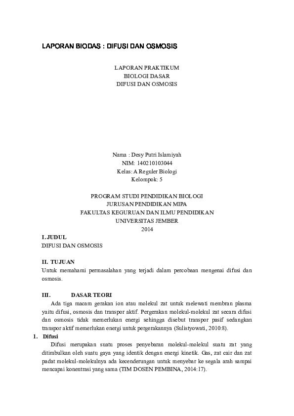 Doc Laporan Biodas Difusi Dan Osmosis Abet Degei Academia Edu