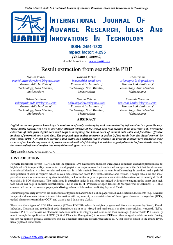 PDF) Result extraction from searchable PDF | Ijariit Journal