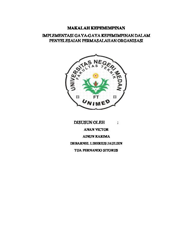 Doc Contoh Makalah Kepemimpinan Debarnal Liberius Academia Edu