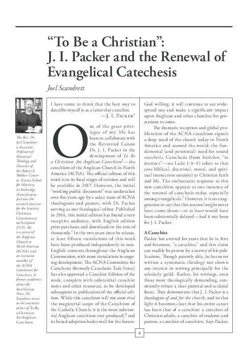 PDF) JI Packer and the Renewal of Evangelical Catechesis (CRUX ...