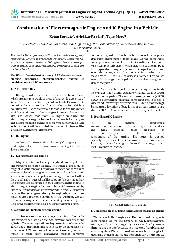 PDF) IRJET- Combination of Electromagnetic Engine and IC Engine in a