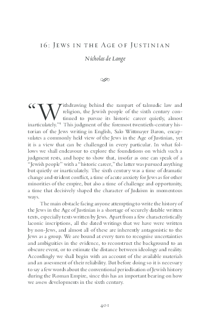 Pdf Nicholas De Lange Jews In The Age Of Justinian In