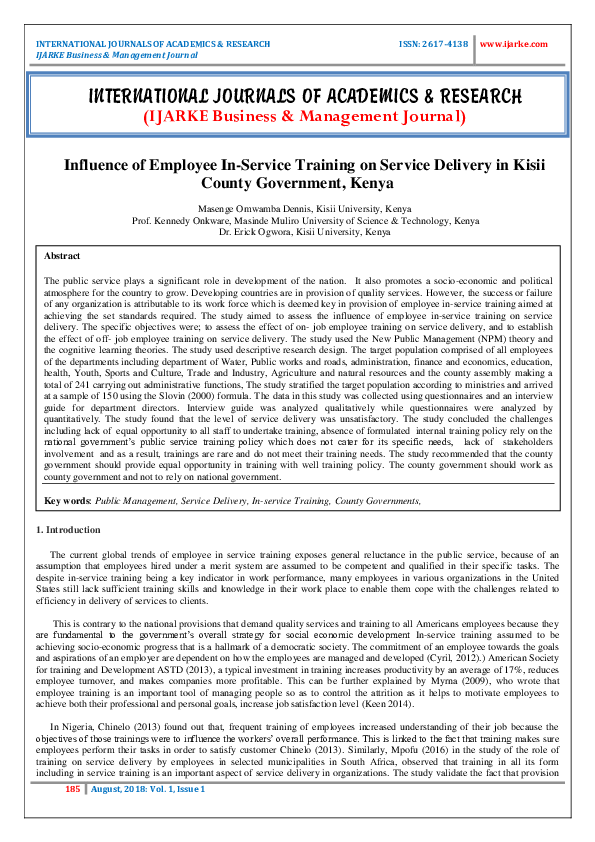 PDF) Influence of Employee In-Service Training on Service
