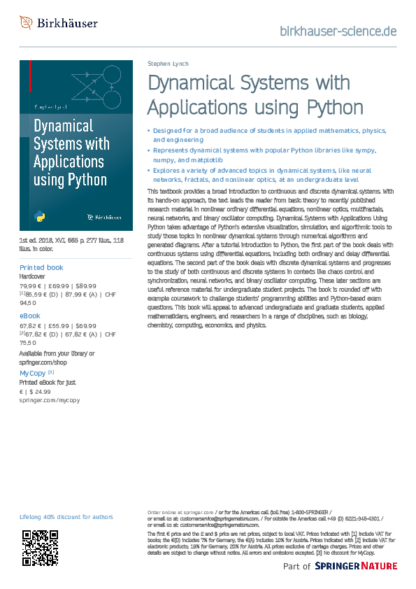 PDF) Dynamical Systems with Applications using Python