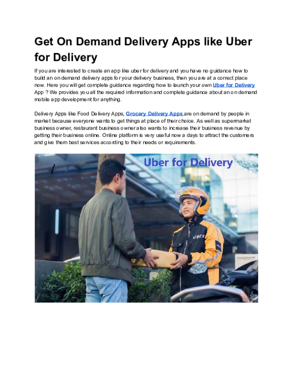 PDF) Get On Demand Delivery Apps like Uber for Delivery pdf