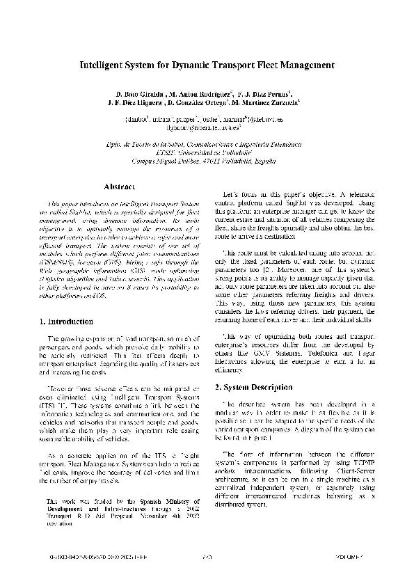 PDF) Intelligent System for Dynamic Transport Fleet