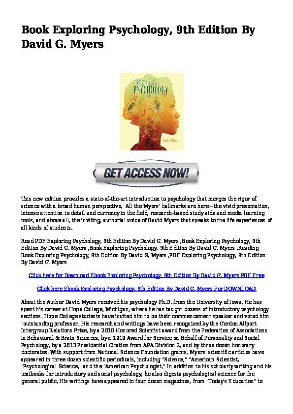 PDF) ((PDF))wdr-PDF-Exploring-Psychology-9th-Edition-By