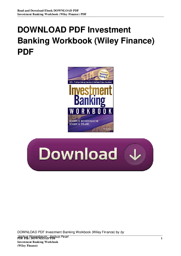Wiley finance investment banking pdf writer investments in stocks and bonds
