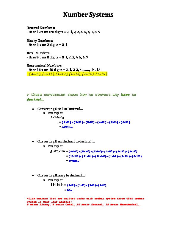DOC) Number Systems docx | Imane Sa - Academia edu