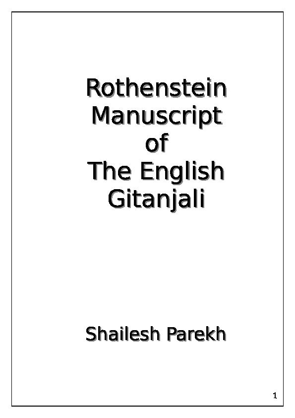 DOC) Rothenstein Manuscript of English Gitanjali - Complete