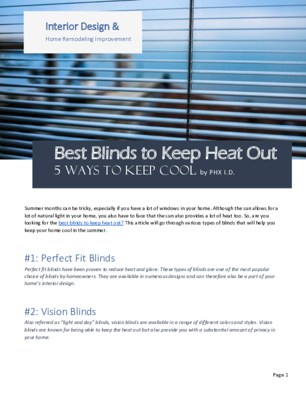 Best Blinds To Keep Heat Out.Pdf Best Blinds To Keep Heat Out Christy Trevino