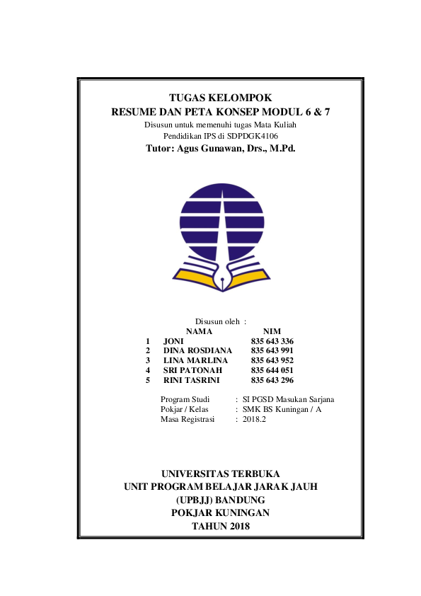 Doc Tugas Kelompok Resume Dan Peta Konsep Modul 6 7 Disusun Oleh Nama Nim 1 Joni 835 643 336 2 Dina Rosdiana 835 643 991 3 Lina Marlina 835 643 952 Eka Putra Academia Edu