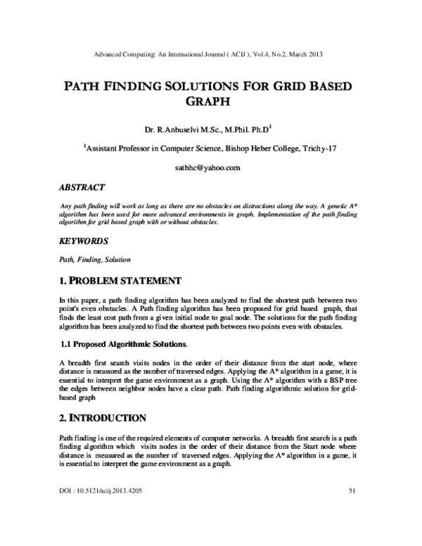 PDF) PATH FINDING SOLUTIONS FOR GRID BASED GRAPH | Advanced