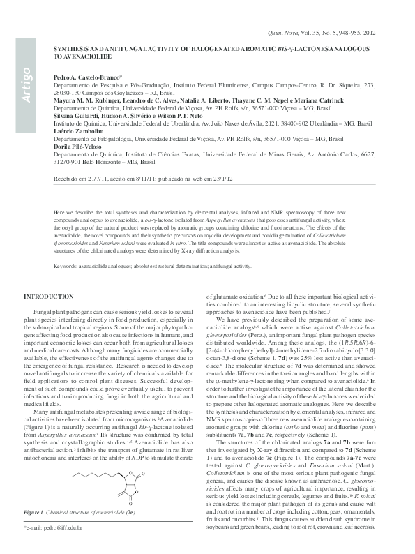 PDF) Synthesis and antifungal activity of halogenated
