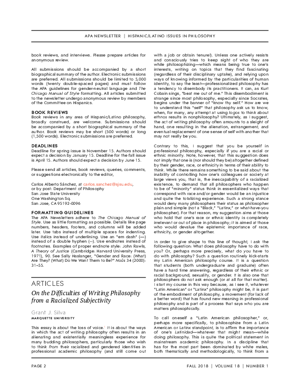 PDF) On the Difficulties of Writing Philosophy from a Racialized ...