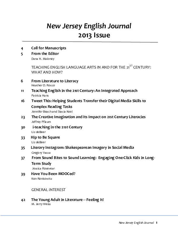 Pdf 2013 New Jersey English Journal Pdf Pdf The Creative Imagination And Its Impact On 21st Century Literacies Jeffrey Pflaum Academia Edu