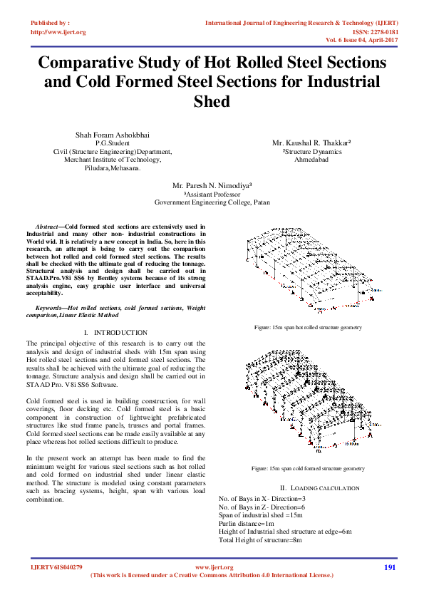 PDF) Comparative Study of Hot Rolled Steel Sections and Cold Formed