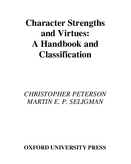 PDF) Character Strengths and Virtues A Handbook and Classification