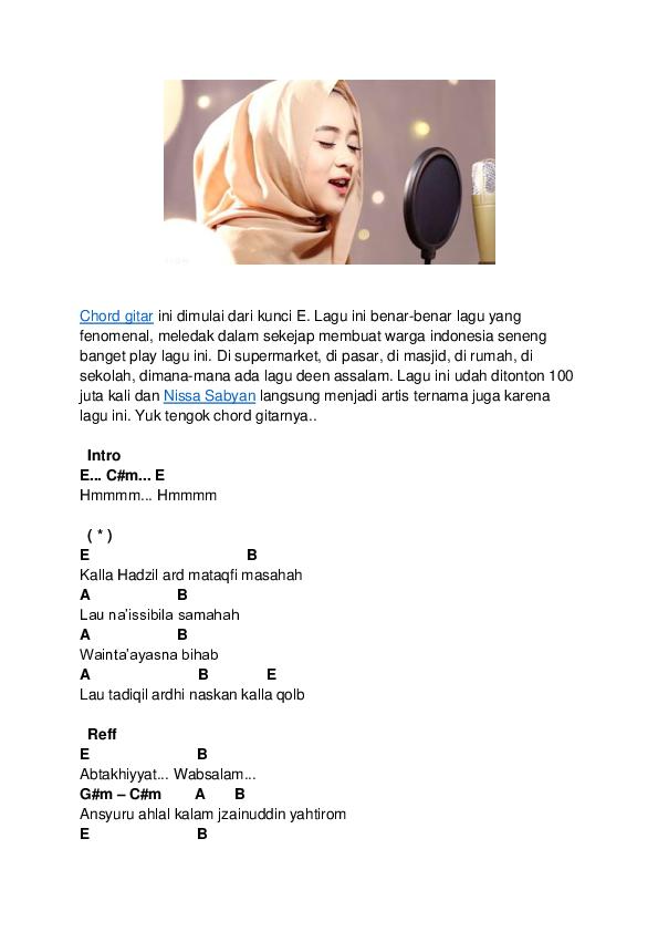 download lagu nissa sabyan hmmm deen assalam
