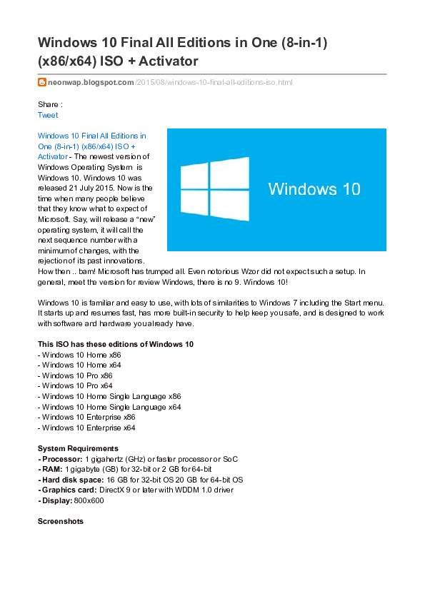 PDF) Windows 10 Final All Editions in One (8-in-1) (x86/x64