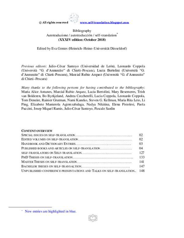 Pdf Bibliography Autotraduzione Autotraducción Self