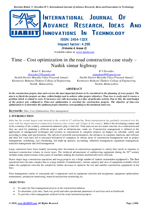 PDF) Time – Cost optimization in the road construction case study