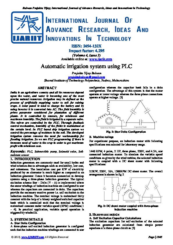PDF) Automatic irrigation system using PLC   Ijariit Journal