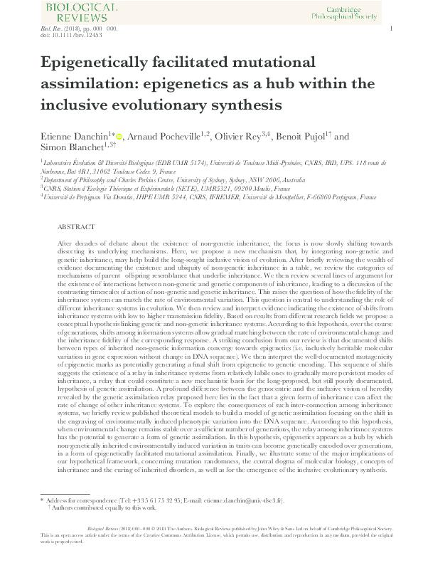PDF) Epigenetically facilitated mutational assimilation