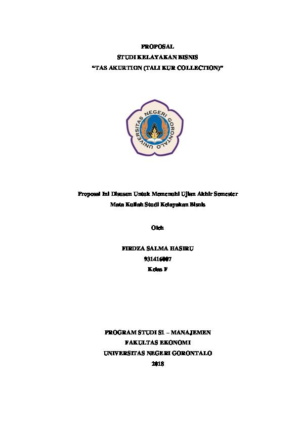 Pdf Proposal Studi Kelayakan Bisnis Tas Akurtion Tali Kur Collection Proposal Ini Disusun Untuk Memenuhi Ujian Akhir Semester Firdza Salma Hasiru Academia Edu