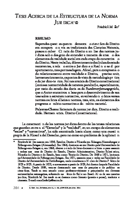 Pdf Müller Friedrich Tesis Acerca De La Estructura De La