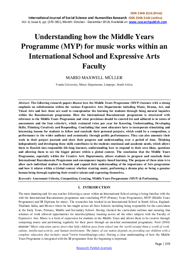 PDF) Understanding how the Middle Years Programme (MYP) for