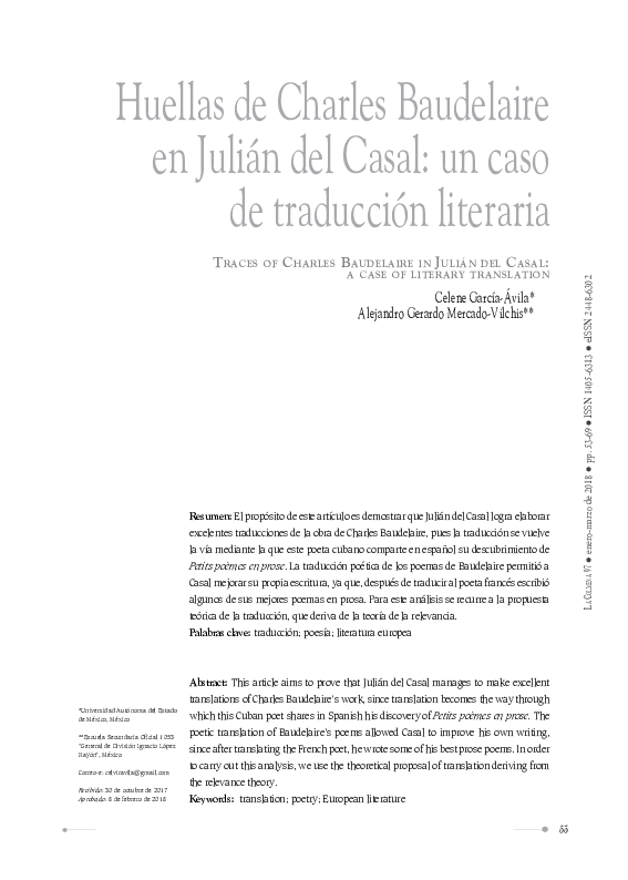 Pdf Traces Of Charles Baudelaire In Julián Del Casal A