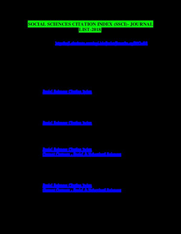 Ssci Journal List 2020.Doc Social Science Citation Index Ssci Journal List